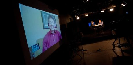 Dr Michael Colgan on the Big Screen in Studio